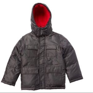 Black Fleece Lined Cold Weather Parka red accents